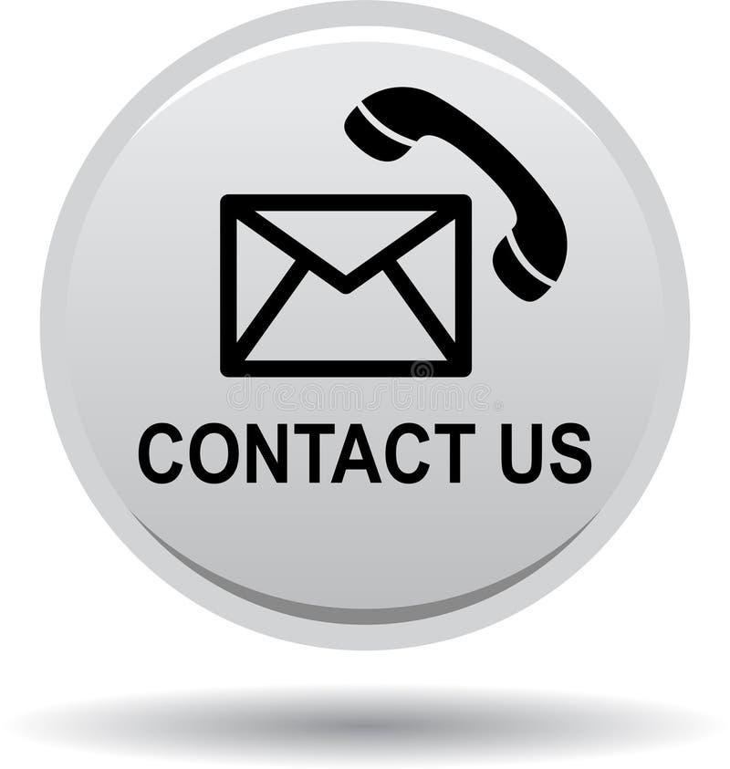 Contacte-nos prata do cinza dos ícones da chamada de correio do botão ilustração stock