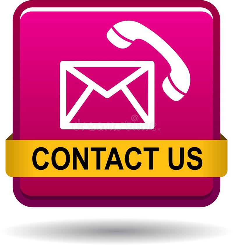 Contacte-nos rosa dos ícones da chamada de correio do botão ilustração royalty free