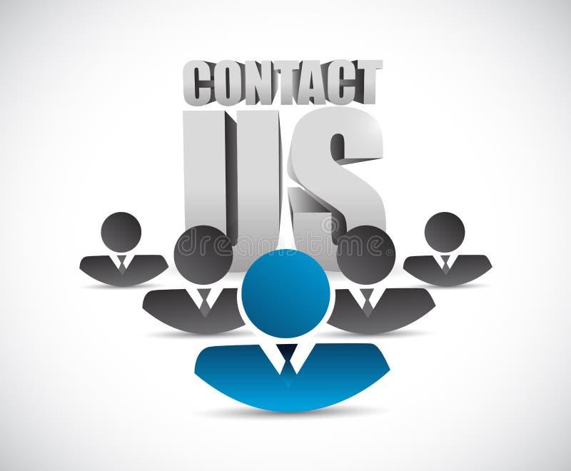contacte-nos sinal e equipe Ilustração ilustração stock
