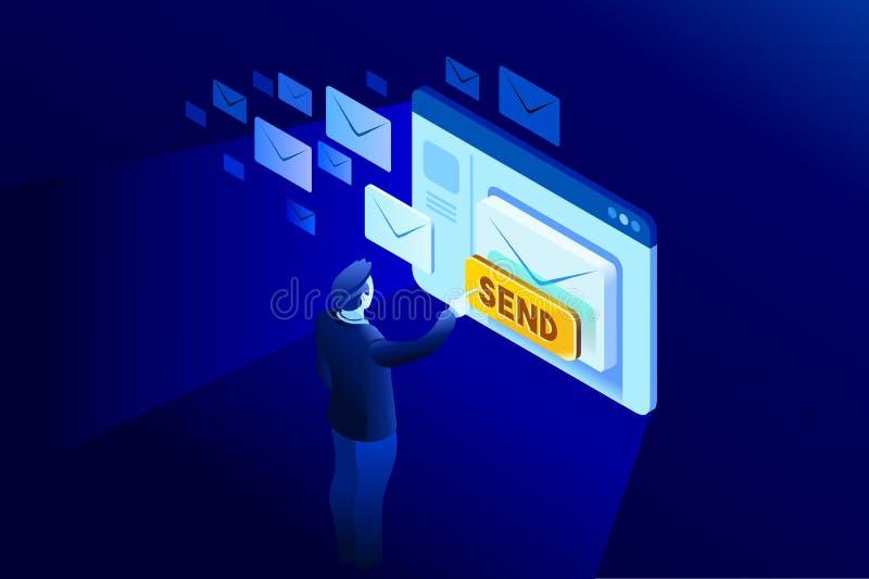 Contacte-nos uma comunicação do email ilustração royalty free