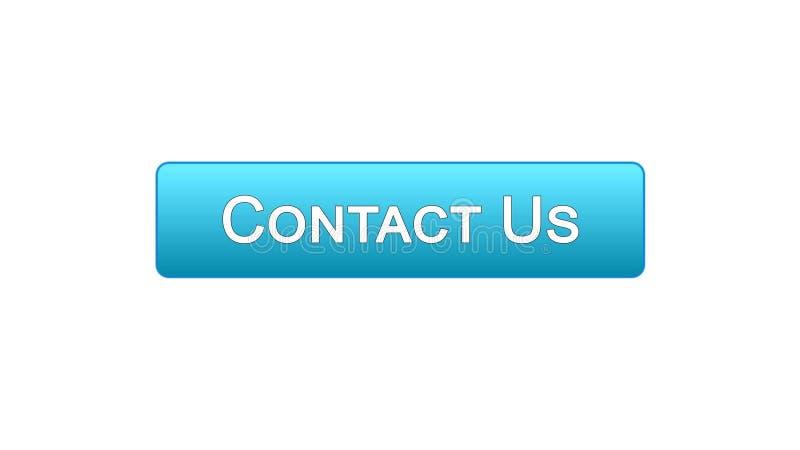Contacte-nos uma comunicação empresarial azul da cor do botão da relação da Web, ajuda ilustração do vetor