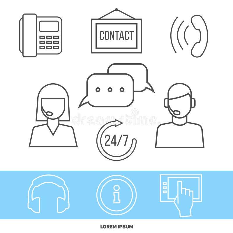 Contacte o centro ou o conceito em linha do apoio com linha ícones ilustração do vetor