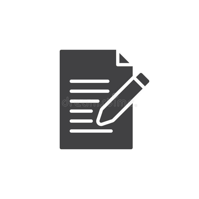Contacte o vetor do ícone do formulário, escreva, edite o sinal liso enchido, pictograma contínuo isolado no branco ilustração royalty free