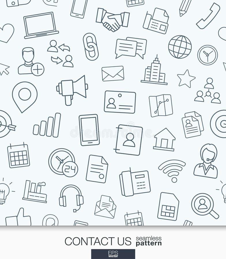 Contacteer ons behang Zwart-wit communicatie naadloos patroon vector illustratie