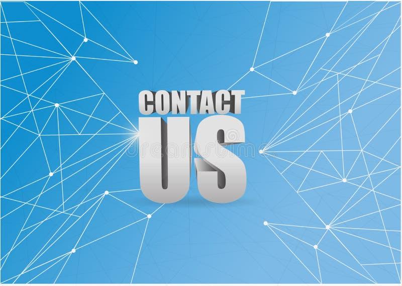 contacteer ons 3d teken over een blauwe abstracte technologie vector illustratie