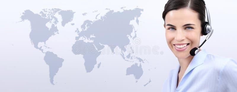 Contacteer ons, de exploitantvrouw van de klantendienst met hoofdtelefoon het glimlachen stock fotografie
