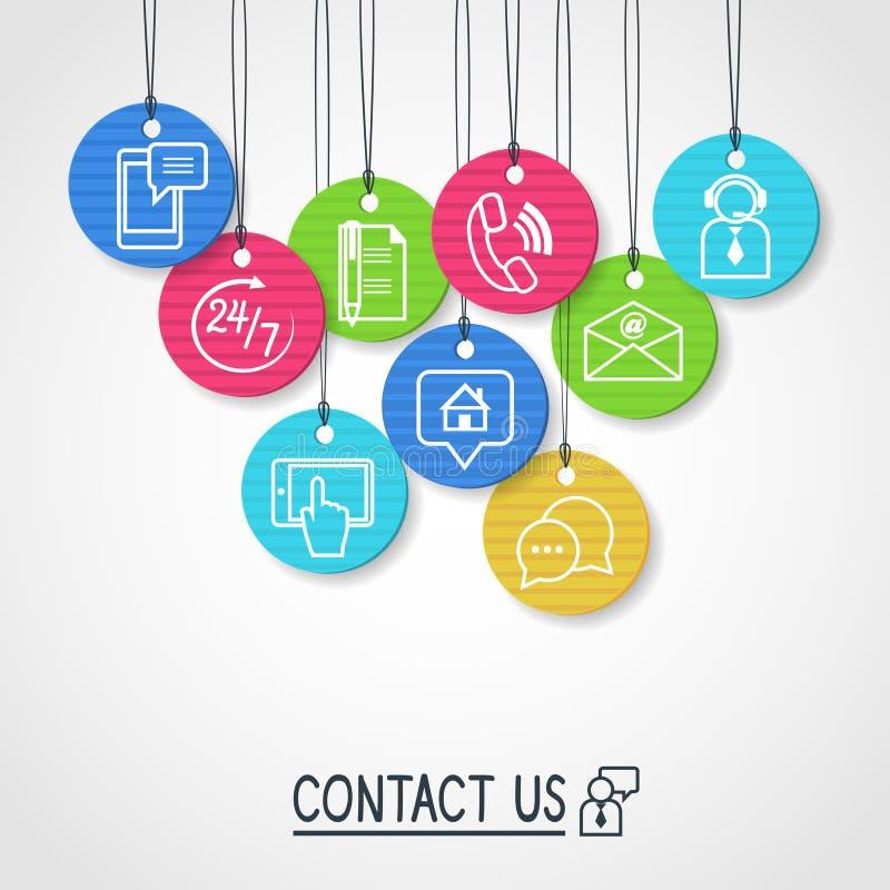 Contacteer ons geplaatste kartonetiketten en markeringen stock illustratie