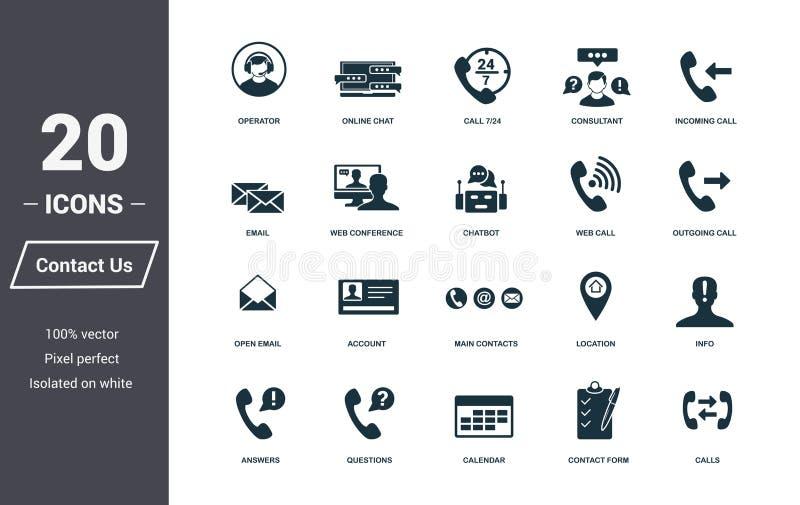 Contacteer ons Geplaatste Pictogrammen Het Symboolinzameling van de premiekwaliteit Contacteer ons pictogram vastgestelde eenvoud royalty-vrije illustratie