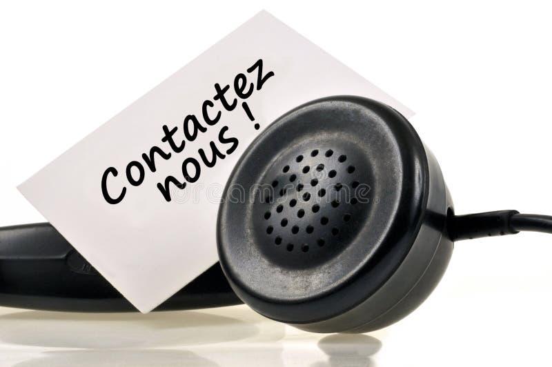 Contacteer ons geschreven in het Frans stock illustratie
