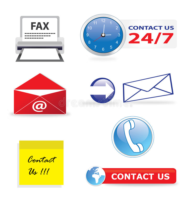 Contacteer ons pictogrammen vector illustratie