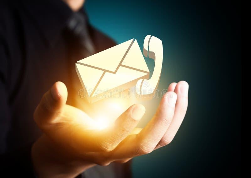 Contacteer ons symbool in zakenmanhand vector illustratie