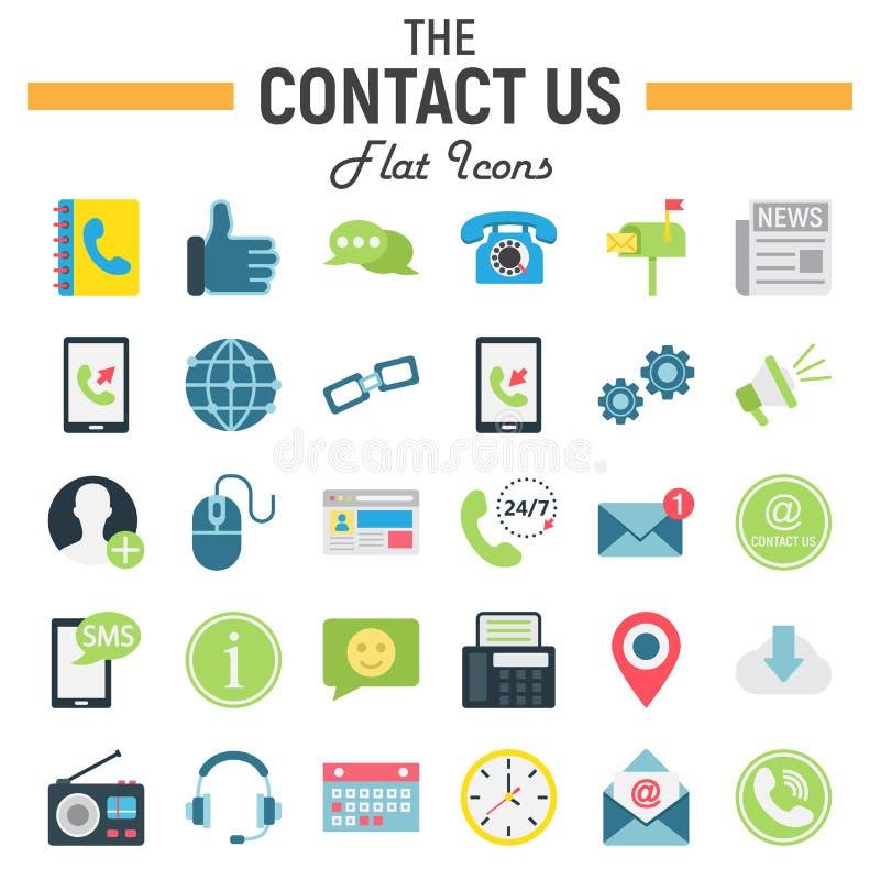 Contacteer ons vlak pictogramreeks, de tekens van de Webknoop royalty-vrije illustratie