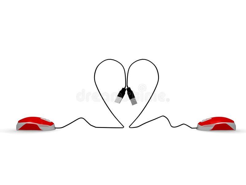 Contactez l'amour en ligne illustration de vecteur