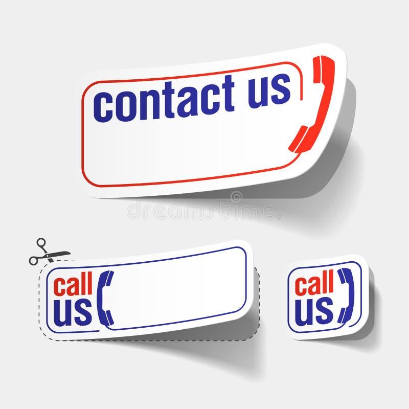 Contactez-nous des étiquettes illustration stock