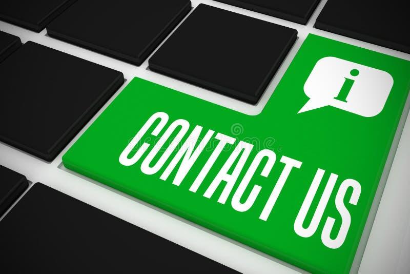 Contactez-nous sur le clavier noir avec la clé verte illustration libre de droits