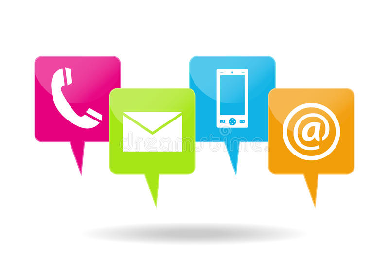 Contacting icons stock illustration