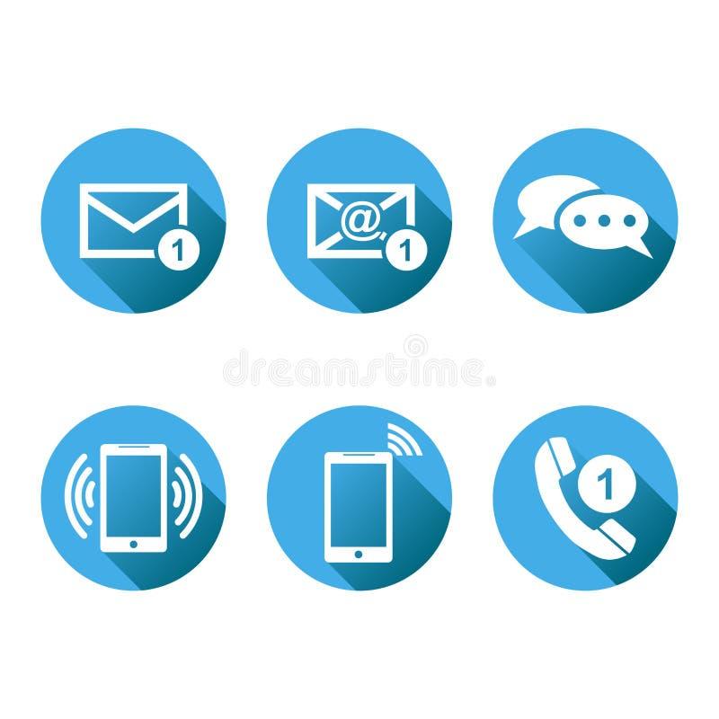Contactknopen geplaatst pictogrammen E-mail, envelop, mobiele telefoon, Vecto stock illustratie