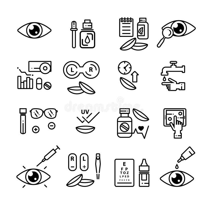 Contactlens en oftalmologielijnpictogrammen vector illustratie