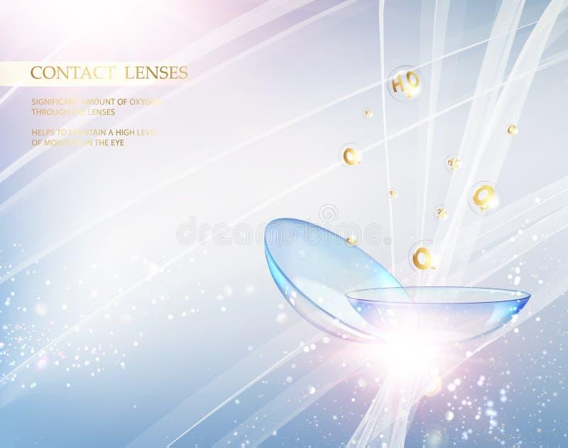 Contactlenzen voor uw ooggezondheid Abstracte illustratie van blauwe optische lens op lichte achtergrond Medische apparatuur over royalty-vrije illustratie
