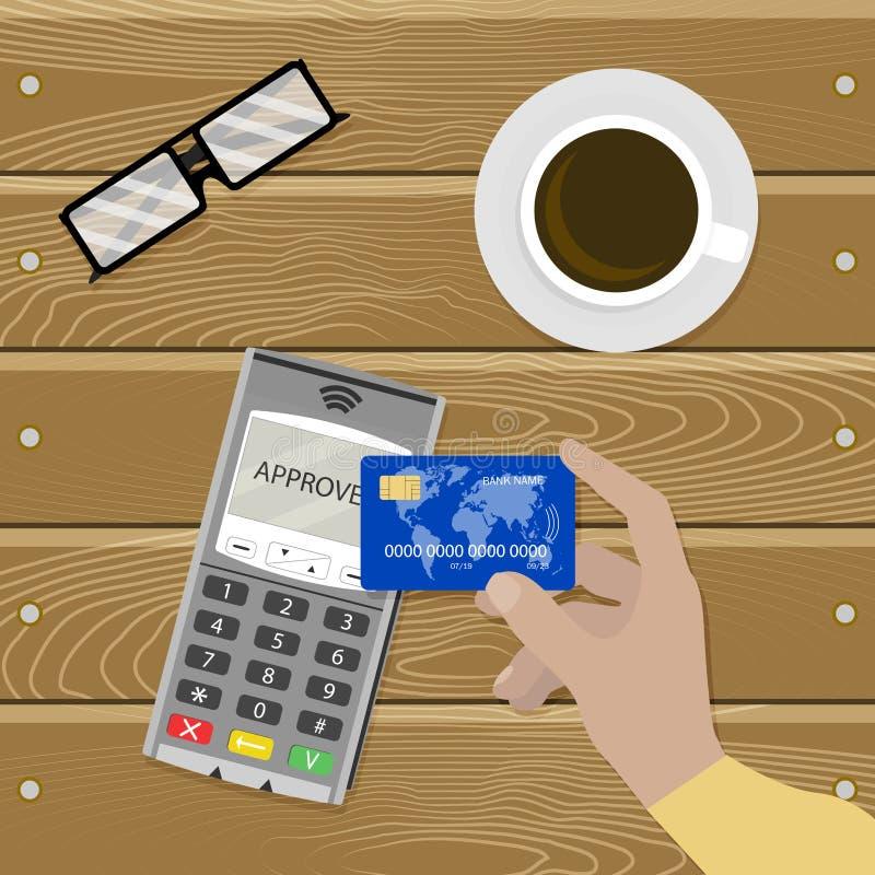 Contactless betalningnfc, cashless transaktionsvektor royaltyfri illustrationer