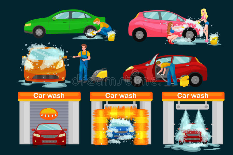 Contactless car washing services, bikini model girl cleaning auto with soap and water, vehicle interior vacuum cleaner. Isolated man drying automobile vector stock illustration