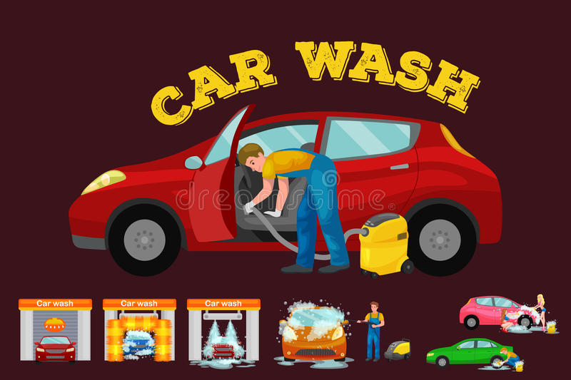 Contactless car washing services, bikini model girl cleaning auto with soap and water, vehicle interior vacuum cleaner. Isolated man drying automobile vector royalty free illustration