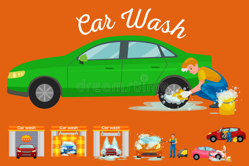 Contactless car washing services, bikini model girl cleaning auto with soap and water, vehicle interior vacuum cleaner. Isolated man drying automobile vector vector illustration