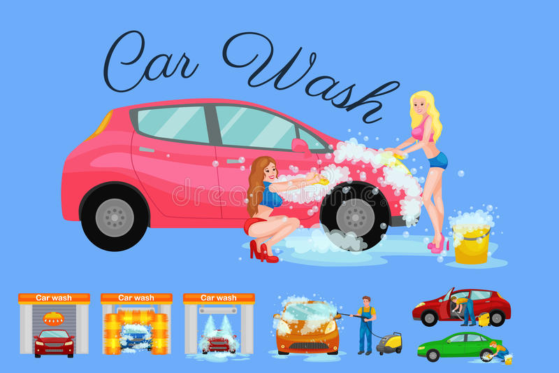 Contactless car washing services, bikini model girl cleaning auto with soap and water, vehicle interior vacuum cleaner. Man drying automobile vector stock illustration