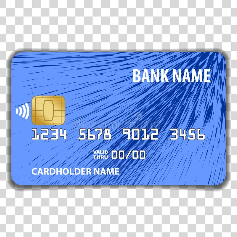Contactless Credit Card isolated on transparent background. Mock Up Template. vector illustration