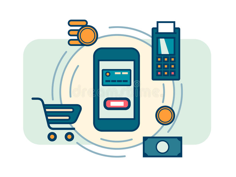 Contactless mobile payment vector illustration