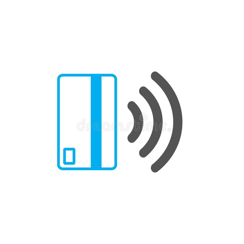 Contactless payment icon. Near-field communication (NFC) card technology concept icon. Tap to pay. vector illustration. stock illustration