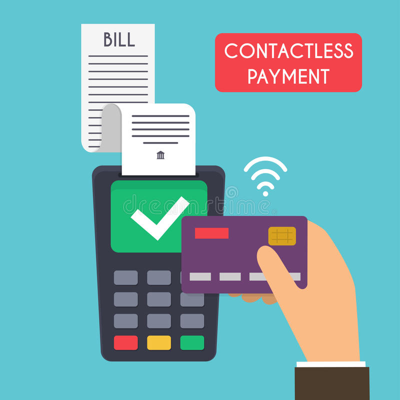 Contactless payment. Male hand holding credit card. Illustration stock illustration