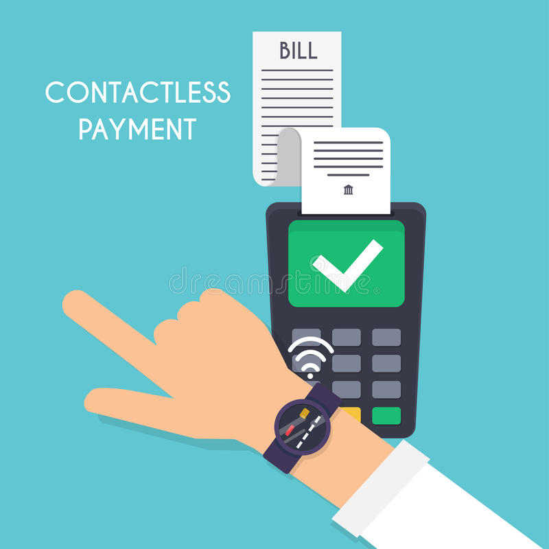 Contactless payment. Male pay with smart watch. Illustration pay vector illustration