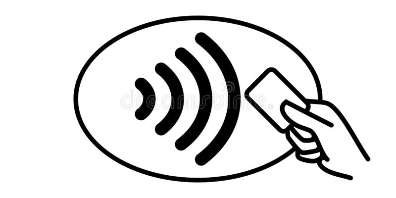 Contactless Payment Vector Icon. Credit Card Hand, Wireless NFC