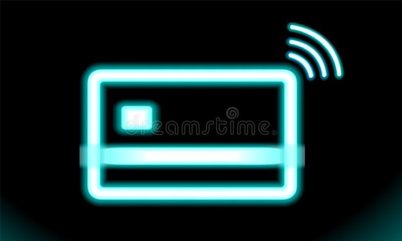 Contactless symbol wi-fi, trådlös lönteckenlogo NFC-teknologikreditkort Blå neonlampa, tecken, knapp för design på svart royaltyfri illustrationer