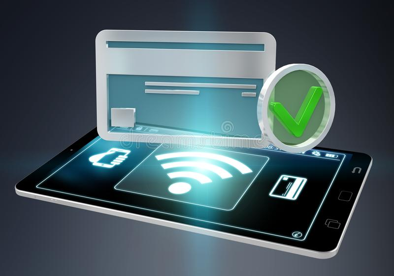 Isolated contactless terminal payment 3D rendering royalty free illustration