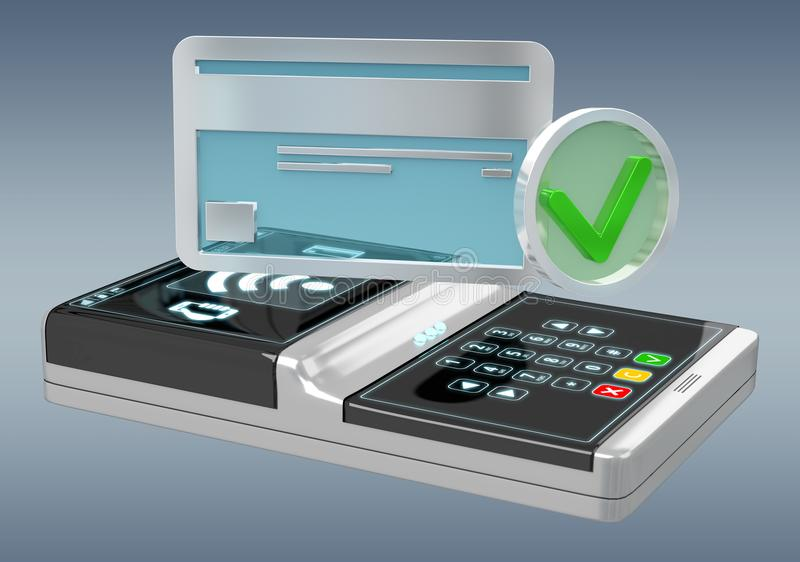 Isolated contactless terminal payment 3D rendering stock illustration