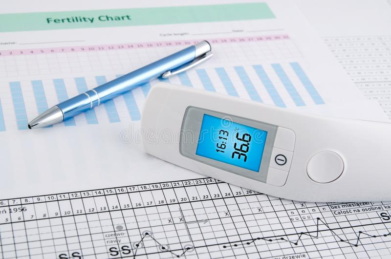 Contactless thermometer on fertility chart. Contactless digital thermometer on fertility chart background stock images