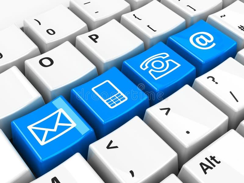 Contacto azul del teclado de ordenador ilustración del vector