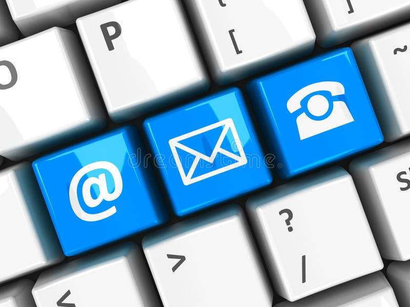 Contacto azul 2 del teclado de ordenador stock de ilustración