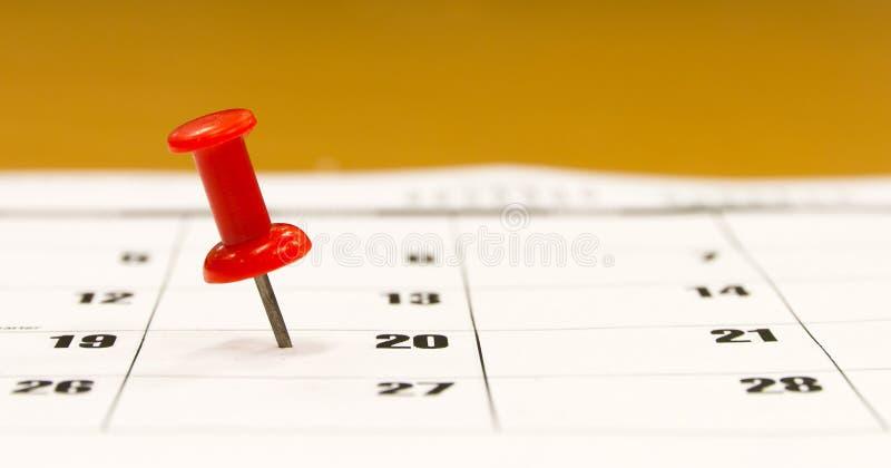 Contacto del empuje del calendario foto de archivo libre de regalías