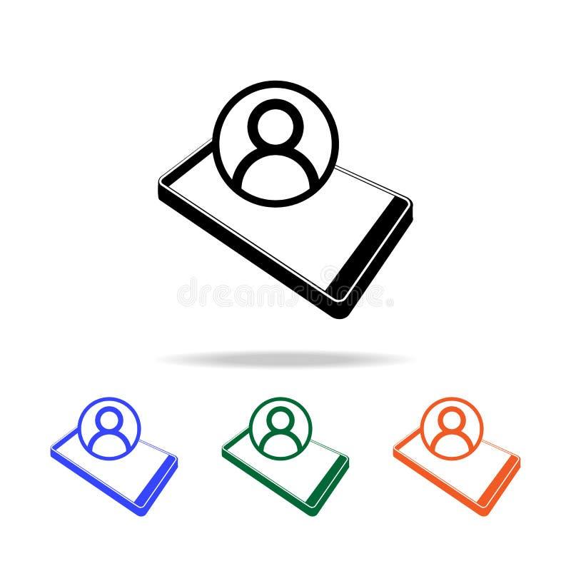 contacto en icono elegante del teléfono Elementos del icono simple de la web en multicolor Icono superior del diseño gráfico de l libre illustration
