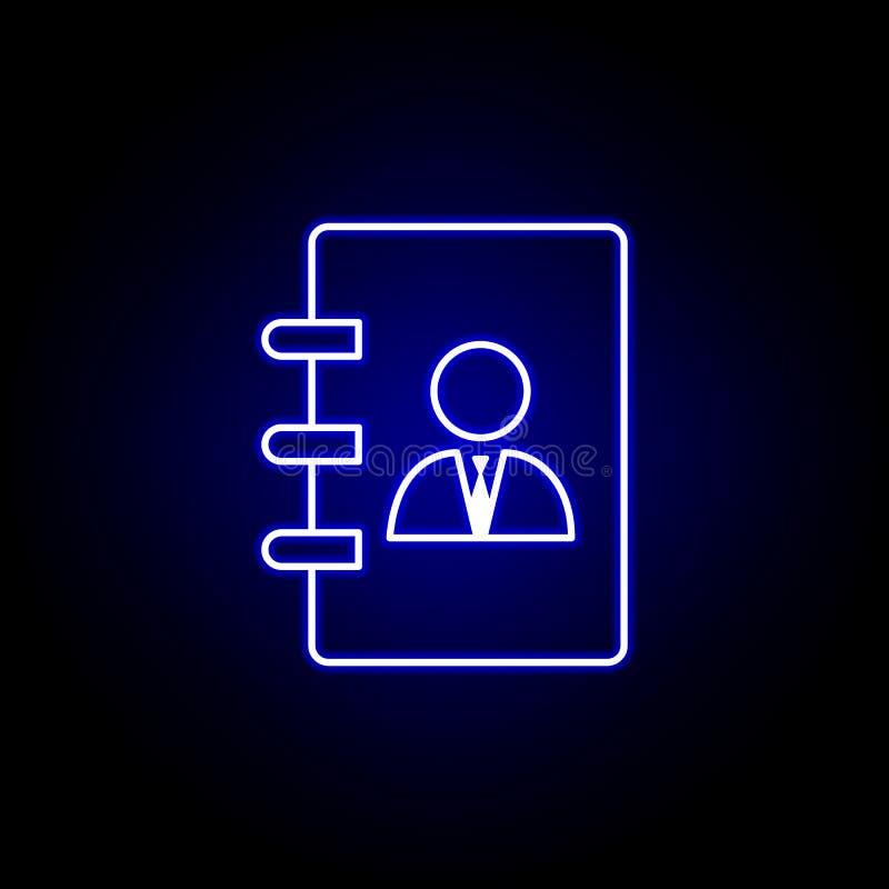Contacto, lista, icono del hombre de negocios Elementos del ejemplo de los recursos humanos en el icono de ne?n del estilo Las mu stock de ilustración