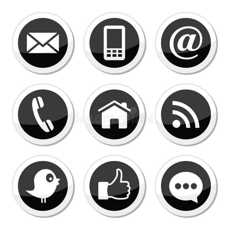 Contacto, Web, blog y medios iconos redondos sociales - gorjeo, facebook, rss stock de ilustración