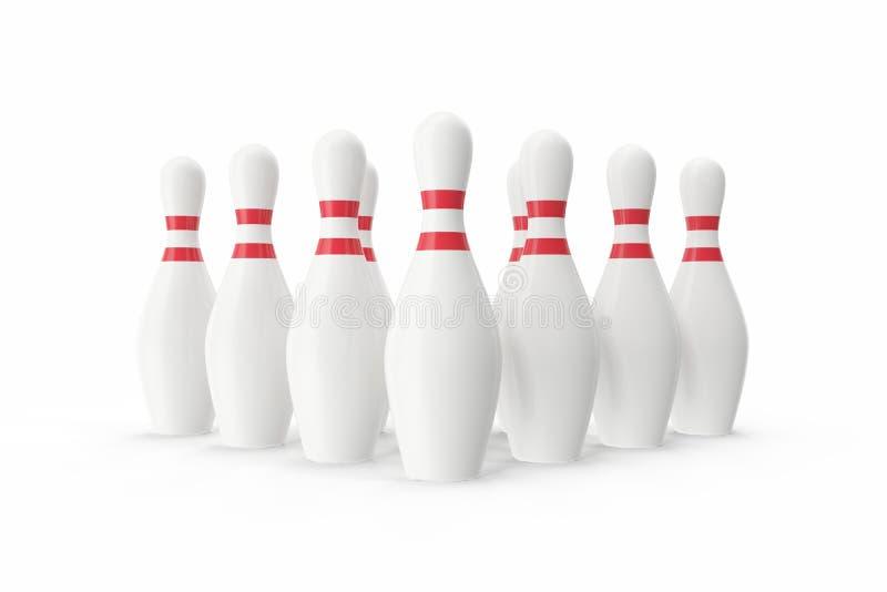Contactos de bowling en el fondo blanco ilustración 3D imagen de archivo libre de regalías