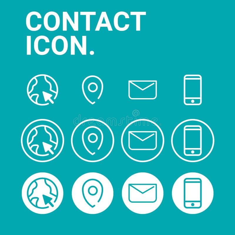 Contactpictogrammen geplaatst Vector - stijl 3 royalty-vrije stock afbeeldingen