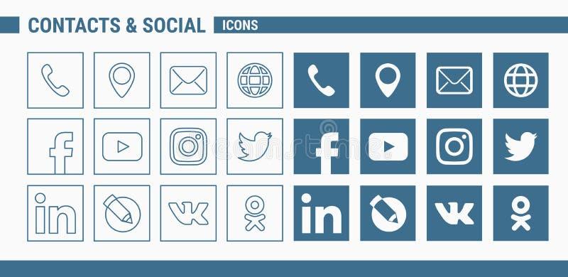 Contacts et icônes sociales - Web et mobile 01 d'ensemble illustration libre de droits