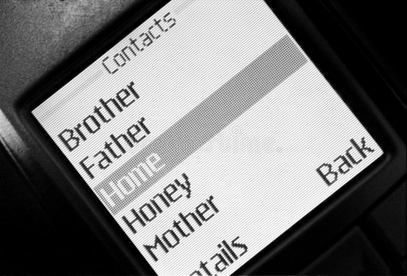 Contacts list in phone. It is contacts list in mobile phone.black and white film. See more my images at stock photography