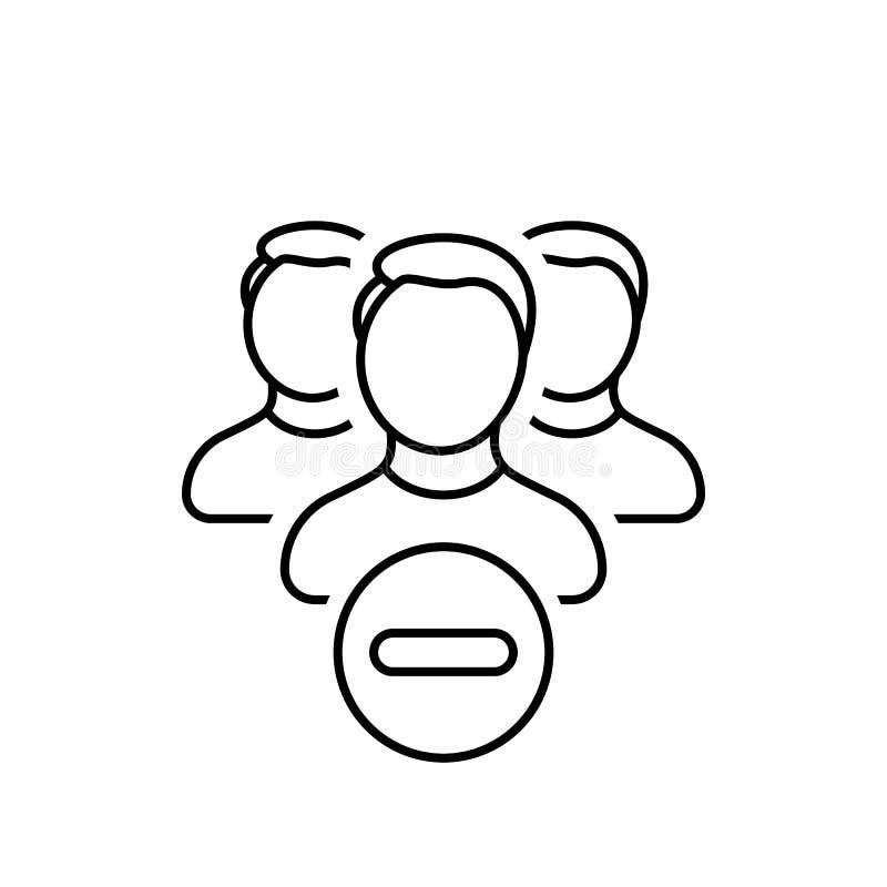 Contacts, suppression, groupe, minus, les gens, icône d'utilisateurs illustration de vecteur