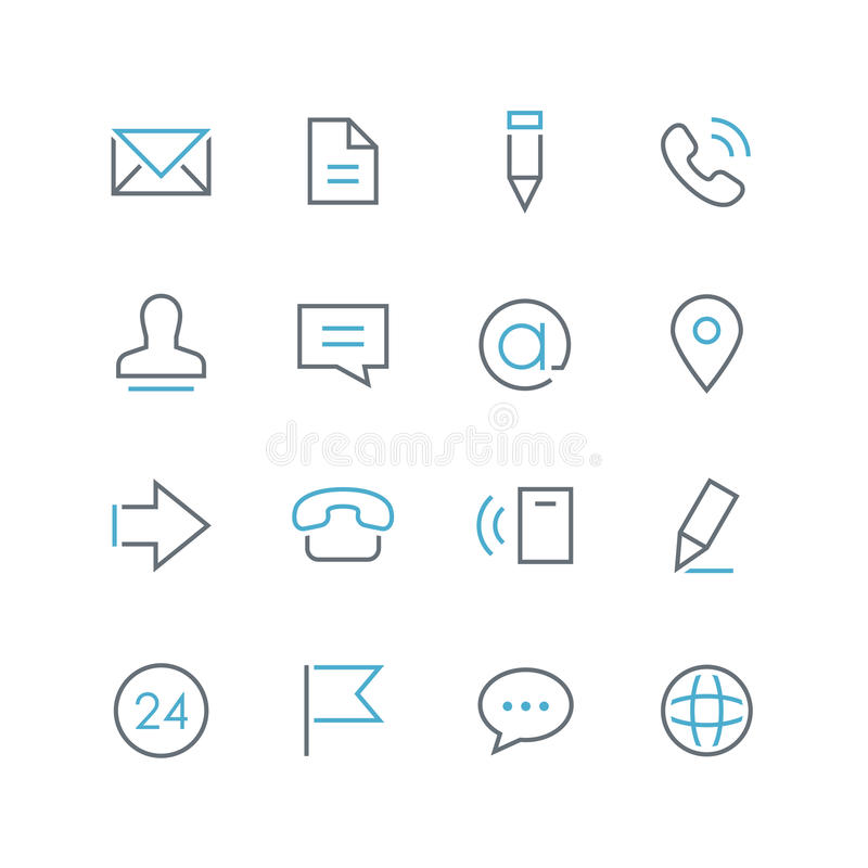 Free Contacts Thin And Colored Outline Icon Set Stock Photos - 82299523